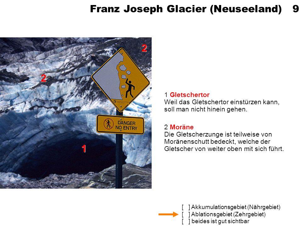 [ ] Akkumulationsgebiet (Nährgebiet) [ ] Ablationsgebiet (Zehrgebiet) [ ] beides ist gut sichtbar Franz Joseph Glacier (Neuseeland) 9 1 Gletschertor W