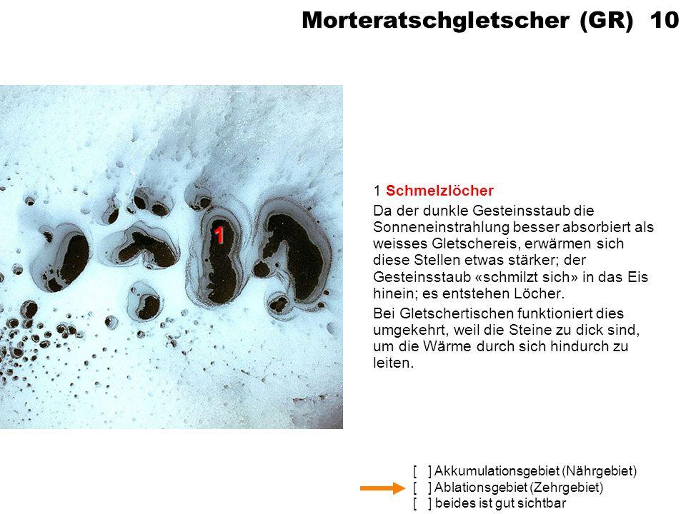 [ ] Akkumulationsgebiet (Nährgebiet) [ ] Ablationsgebiet (Zehrgebiet) [ ] beides ist gut sichtbar Morteratschgletscher (GR) 10 1 Schmelzlöcher Da der