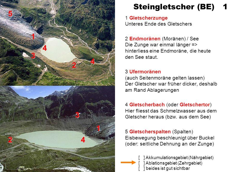 [ ] Akkumulationsgebiet (Nährgebiet) [ ] Ablationsgebiet (Zehrgebiet) [ ] beides ist gut sichtbar Steingletscher (BE) 1 1 Gletscherzunge Unteres Ende