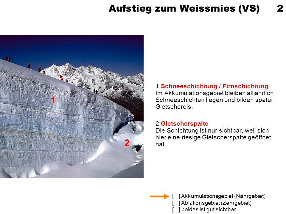 [ ] Akkumulationsgebiet (Nährgebiet) [ ] Ablationsgebiet (Zehrgebiet) [ ] beides ist gut sichtbar Aufstieg zum Weissmies (VS) 2 1 Schneeschichtung / F