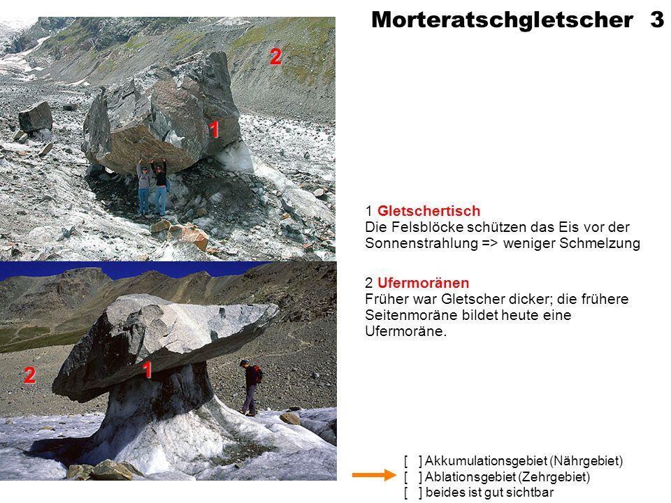 [ ] Akkumulationsgebiet (Nährgebiet) [ ] Ablationsgebiet (Zehrgebiet) [ ] beides ist gut sichtbar Im Montblanc-Gebiet 4 1 Bergsturz / Steinschlag Von der eisfreien Felswand ist Gestein auf den Gletscher gestürzt (später: Moränenbildung) 1