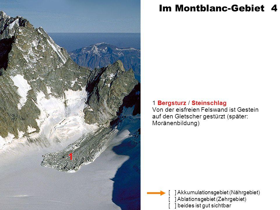[ ] Akkumulationsgebiet (Nährgebiet) [ ] Ablationsgebiet (Zehrgebiet) [ ] beides ist gut sichtbar Im Montblanc-Gebiet 4 1 Bergsturz / Steinschlag Von