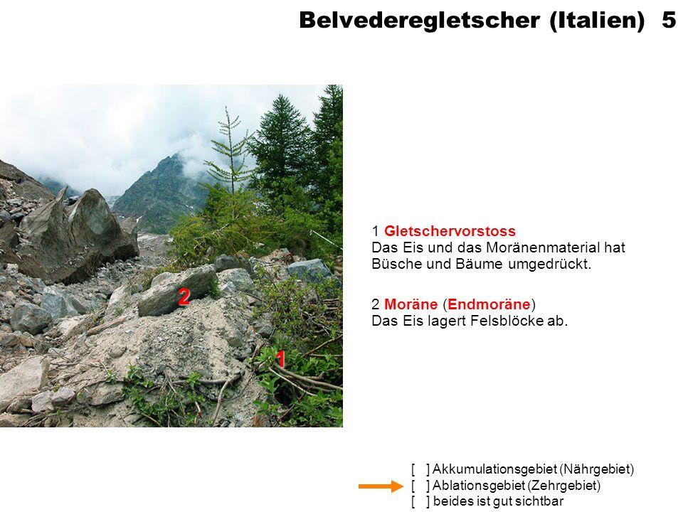 [ ] Akkumulationsgebiet (Nährgebiet) [ ] Ablationsgebiet (Zehrgebiet) [ ] beides ist gut sichtbar Grosser Aletschgletscher (VS) 6 1 Talgletscher Langgezogener Eisstrom in Talgrund 2 Gebirgsgletscher / Kargletscher Kurzer Gletscher an Bergflanke / in Kar 3 Mittelmoränen Mehrere Teilgletscher vereinigen sich (hinten); Seitenmoränen werden zu Mittelmoränen.