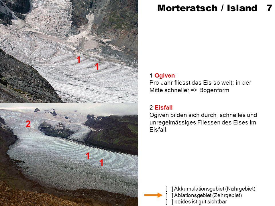 [ ] Akkumulationsgebiet (Nährgebiet) [ ] Ablationsgebiet (Zehrgebiet) [ ] beides ist gut sichtbar Griesgletscher (VS) 8 1 Gletscherspalten Die Eisoberfläche ist nach aussen gewölbt => Eis wird schneller => durch Dehnung öffnen sich Spalten 2 Schnee (Schneebrücke) Reste von Winterschnee verbergen teilweise die Spalte.