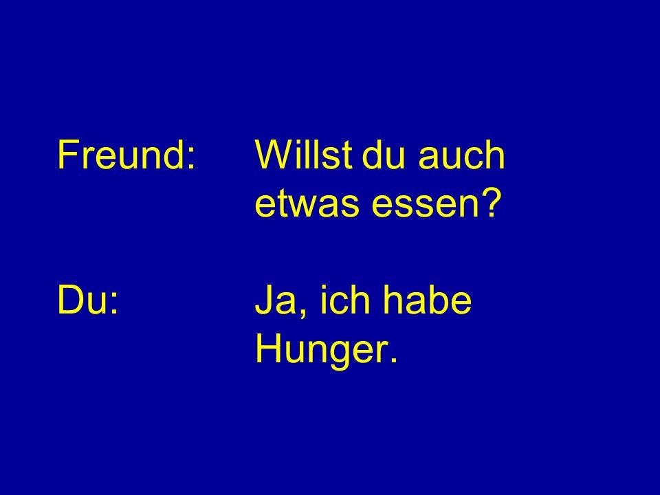 Freund:Willst du auch etwas essen? Du:Ja, ich habe Hunger.