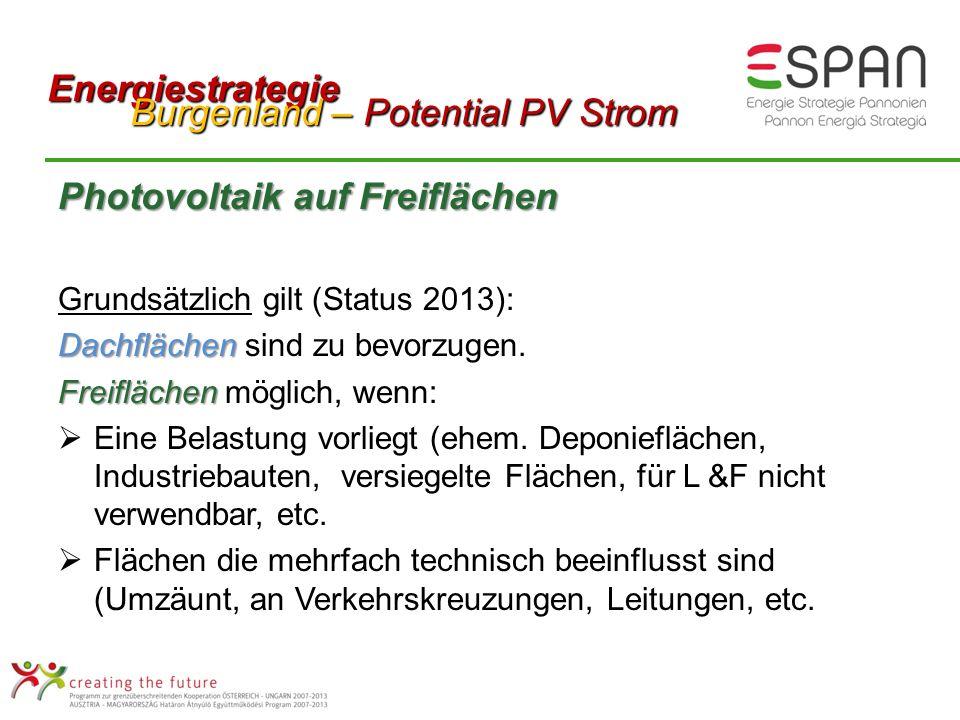 Photovoltaik auf Freiflächen Grundsätzlich gilt (Status 2013): Dachflächen Dachflächen sind zu bevorzugen.