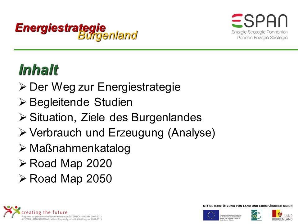 Inhalt Der Weg zur Energiestrategie Begleitende Studien Situation, Ziele des Burgenlandes Verbrauch und Erzeugung (Analyse) Maßnahmenkatalog Road Map 2020 Road Map 2050 Energiestrategie Burgenland Burgenland