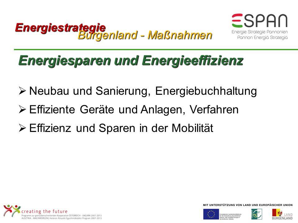 Energiesparen und Energieeffizienz Neubau und Sanierung, Energiebuchhaltung Effiziente Geräte und Anlagen, Verfahren Effizienz und Sparen in der Mobilität Energiestrategie Burgenland - Maßnahmen Burgenland - Maßnahmen