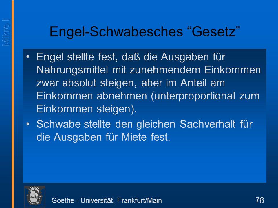 Goethe - Universität, Frankfurt/Main 78 Engel-Schwabesches Gesetz Engel stellte fest, daß die Ausgaben für Nahrungsmittel mit zunehmendem Einkommen zw