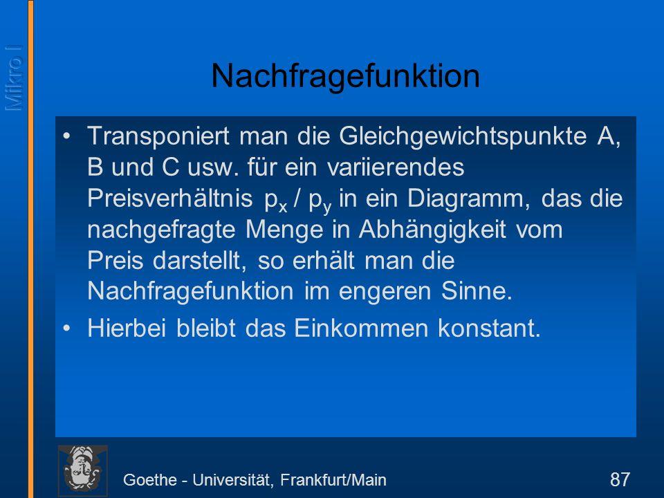 Goethe - Universität, Frankfurt/Main 87 Nachfragefunktion Transponiert man die Gleichgewichtspunkte A, B und C usw. für ein variierendes Preisverhältn