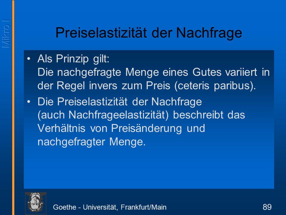 Goethe - Universität, Frankfurt/Main 89 Preiselastizität der Nachfrage Als Prinzip gilt: Die nachgefragte Menge eines Gutes variiert in der Regel inve