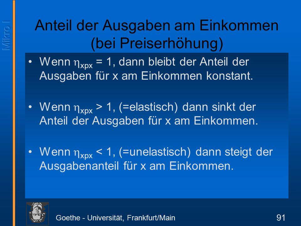 Goethe - Universität, Frankfurt/Main 91 Anteil der Ausgaben am Einkommen (bei Preiserhöhung) Wenn xpx = 1, dann bleibt der Anteil der Ausgaben für x a