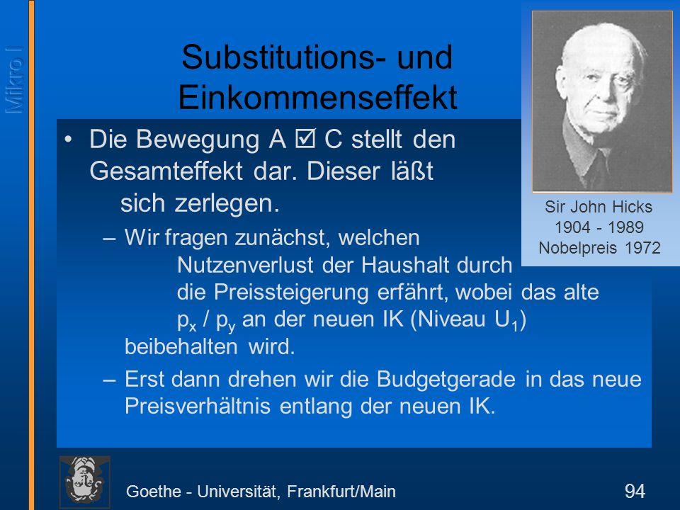 Goethe - Universität, Frankfurt/Main 94 Die Bewegung A C stellt den Gesamteffekt dar. Dieser läßt sich zerlegen. –Wir fragen zunächst, welchen Nutzenv
