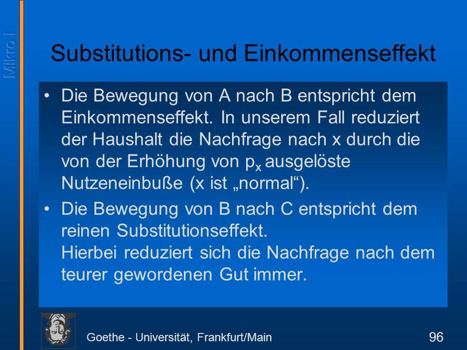 Goethe - Universität, Frankfurt/Main 96 Substitutions- und Einkommenseffekt Die Bewegung von A nach B entspricht dem Einkommenseffekt. In unserem Fall