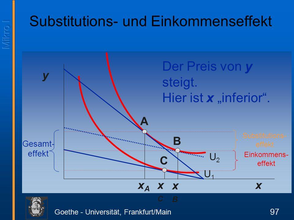 Goethe - Universität, Frankfurt/Main 97 y x Der Preis von y steigt. Hier ist x inferior. B xBxB C xCxC Substitutions- effekt Einkommens- effekt Gesamt