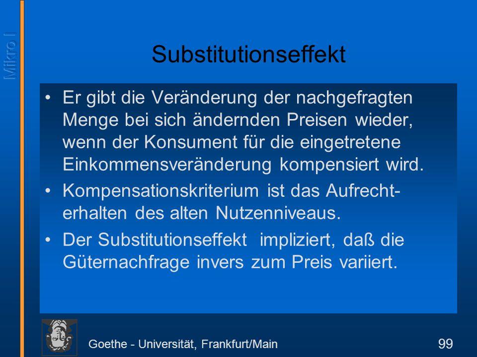 Goethe - Universität, Frankfurt/Main 99 Substitutionseffekt Er gibt die Veränderung der nachgefragten Menge bei sich ändernden Preisen wieder, wenn de