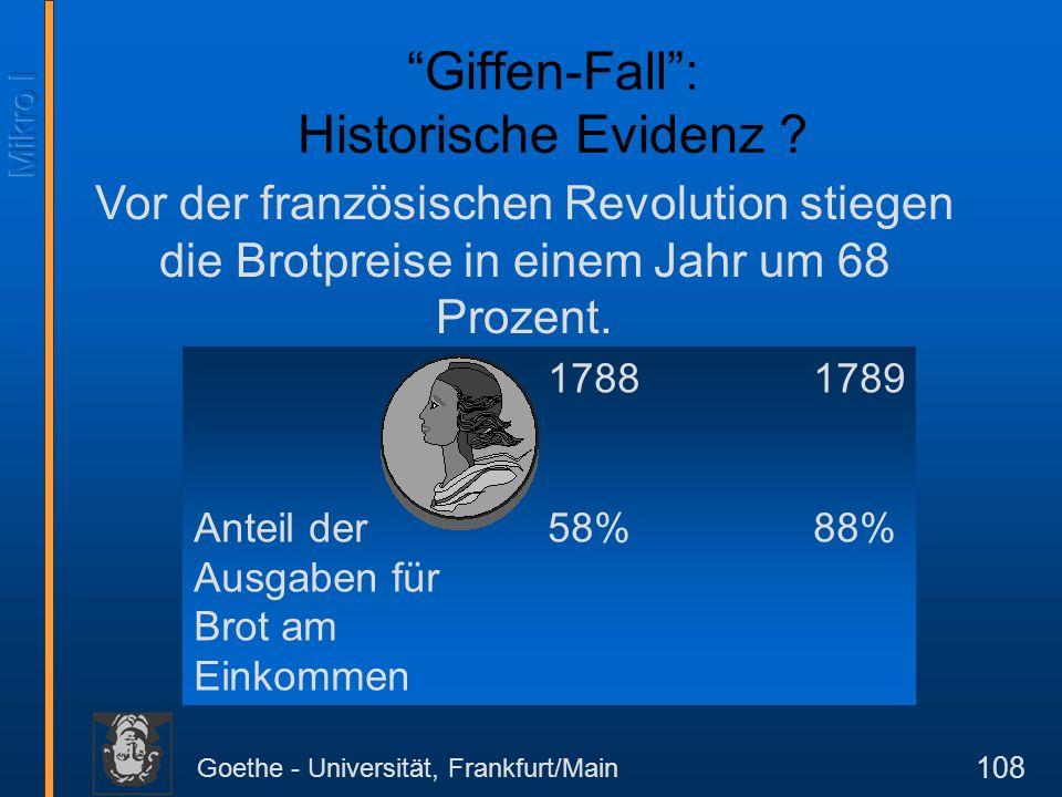 Goethe - Universität, Frankfurt/Main 108 Giffen-Fall: Historische Evidenz ? Vor der französischen Revolution stiegen die Brotpreise in einem Jahr um 6