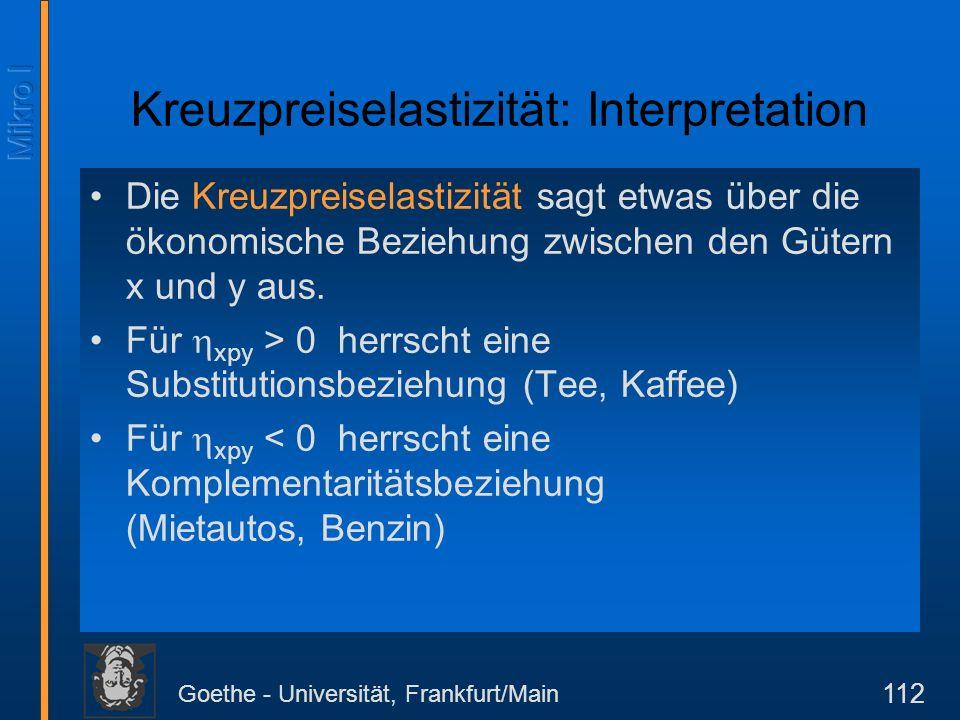 Goethe - Universität, Frankfurt/Main 112 Kreuzpreiselastizität: Interpretation Die Kreuzpreiselastizität sagt etwas über die ökonomische Beziehung zwi