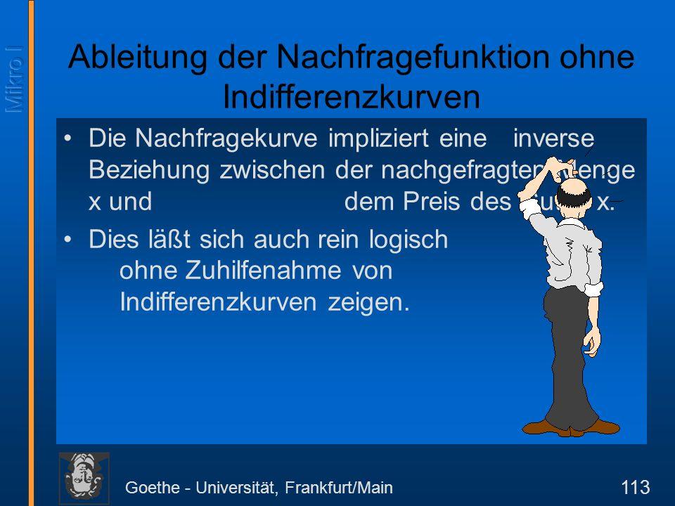 Goethe - Universität, Frankfurt/Main 113 Die Nachfragekurve impliziert eine inverse Beziehung zwischen der nachgefragten Menge x und dem Preis des Gut