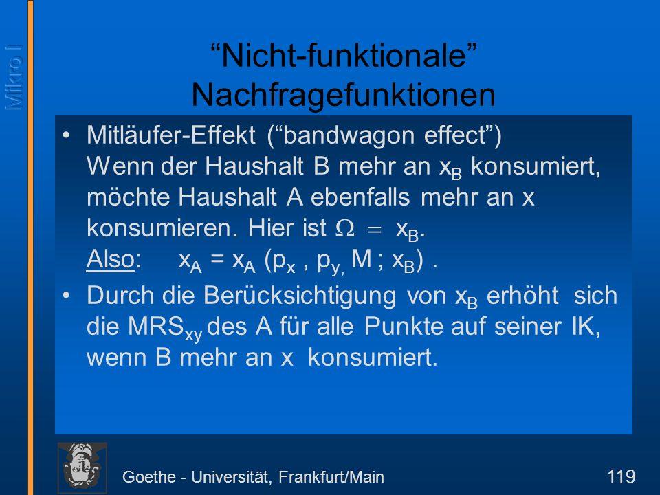 Goethe - Universität, Frankfurt/Main 119 Nicht-funktionale Nachfragefunktionen Mitläufer-Effekt (bandwagon effect) Wenn der Haushalt B mehr an x B kon