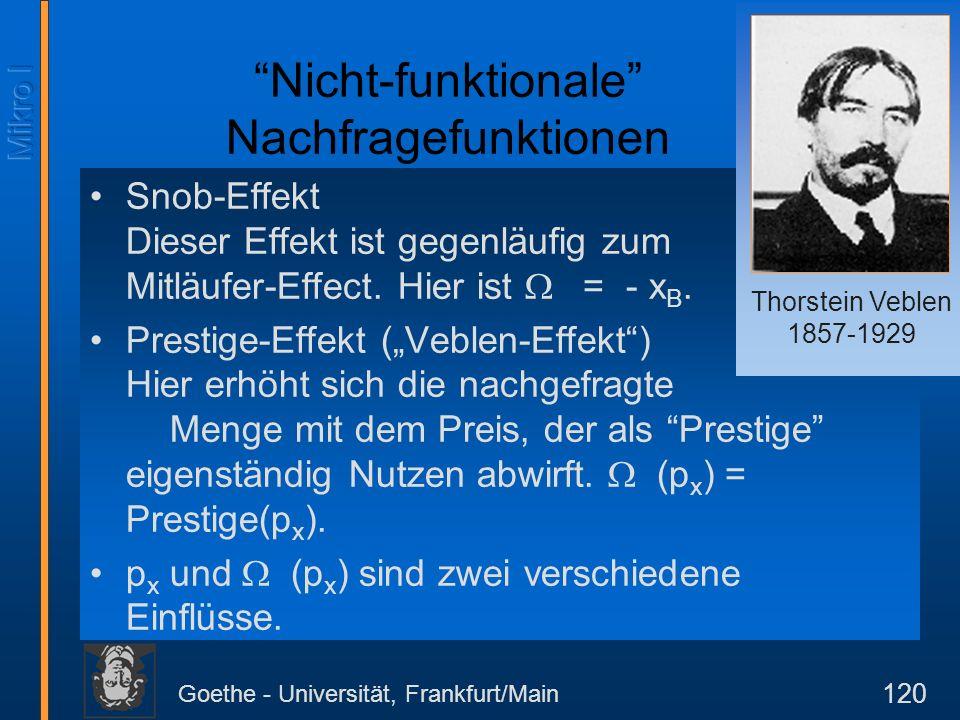 Goethe - Universität, Frankfurt/Main 120 Nicht-funktionale Nachfragefunktionen Snob-Effekt Dieser Effekt ist gegenläufig zum Mitläufer-Effect. Hier is