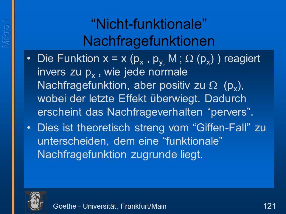 Goethe - Universität, Frankfurt/Main 121 Nicht-funktionale Nachfragefunktionen Die Funktion x = x (p x, p y, M ; (p x ) ) reagiert invers zu p x, wie