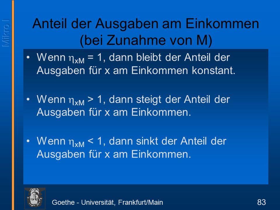 Goethe - Universität, Frankfurt/Main 83 Anteil der Ausgaben am Einkommen (bei Zunahme von M) Wenn xM = 1, dann bleibt der Anteil der Ausgaben für x am