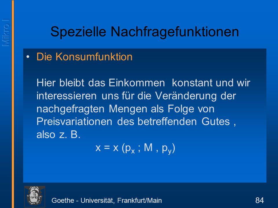 Goethe - Universität, Frankfurt/Main 84 Spezielle Nachfragefunktionen Die Konsumfunktion Hier bleibt das Einkommen konstant und wir interessieren uns