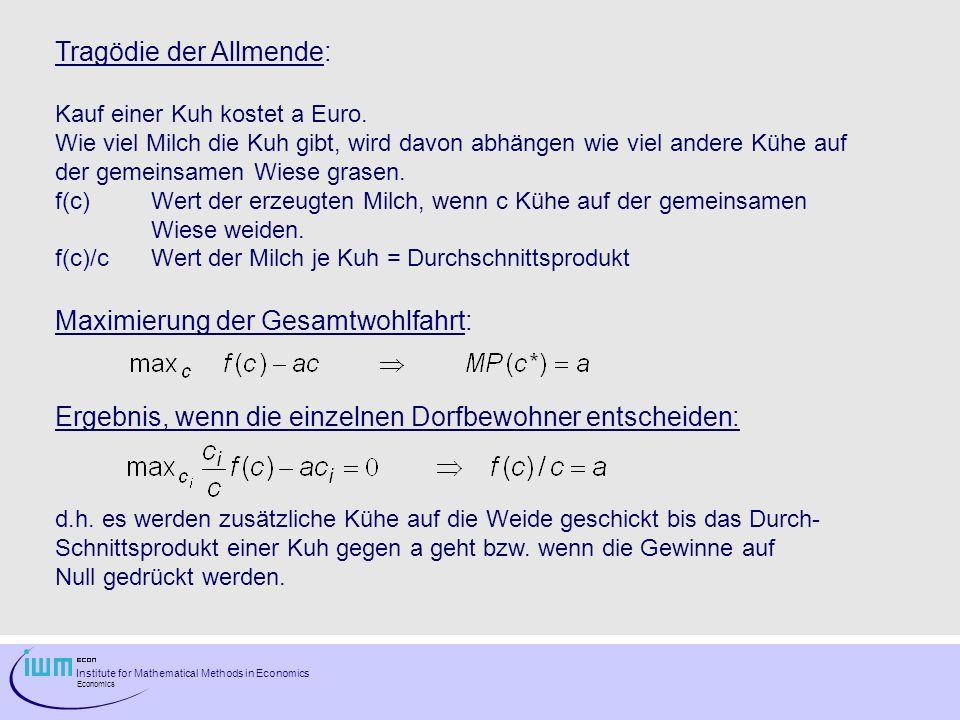 Institute for Mathematical Methods in Economics Economics Tragödie der Allmende: Kauf einer Kuh kostet a Euro. Wie viel Milch die Kuh gibt, wird davon