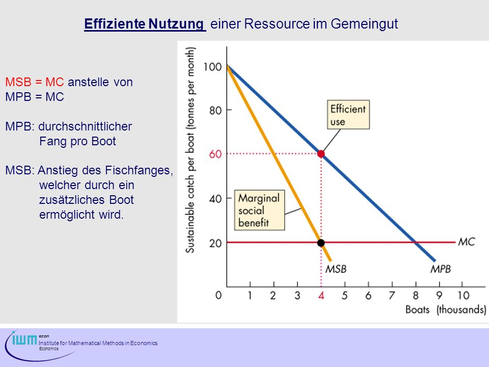Institute for Mathematical Methods in Economics Economics Effiziente Nutzung einer Ressource im Gemeingut MSB = MC anstelle von MPB = MC MPB: durchsch