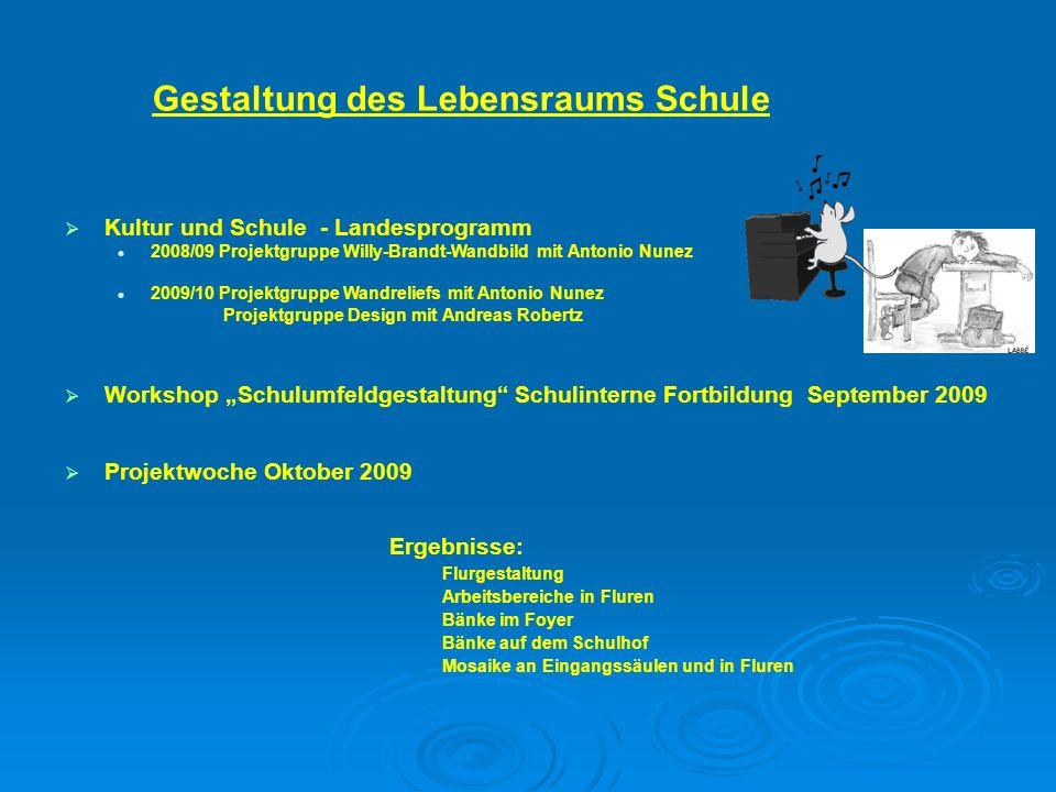 Projektwoche Oktober 2009 Gestaltung des Lebensraums Schule Workshop Schulumfeldgestaltung Schulinterne Fortbildung September 2009 Kultur und Schule -