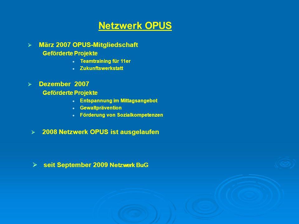 2008 Netzwerk OPUS ist ausgelaufen März 2007 OPUS-Mitgliedschaft Geförderte Projekte Teamtraining für 11er Zukunftswerkstatt Dezember 2007 Geförderte