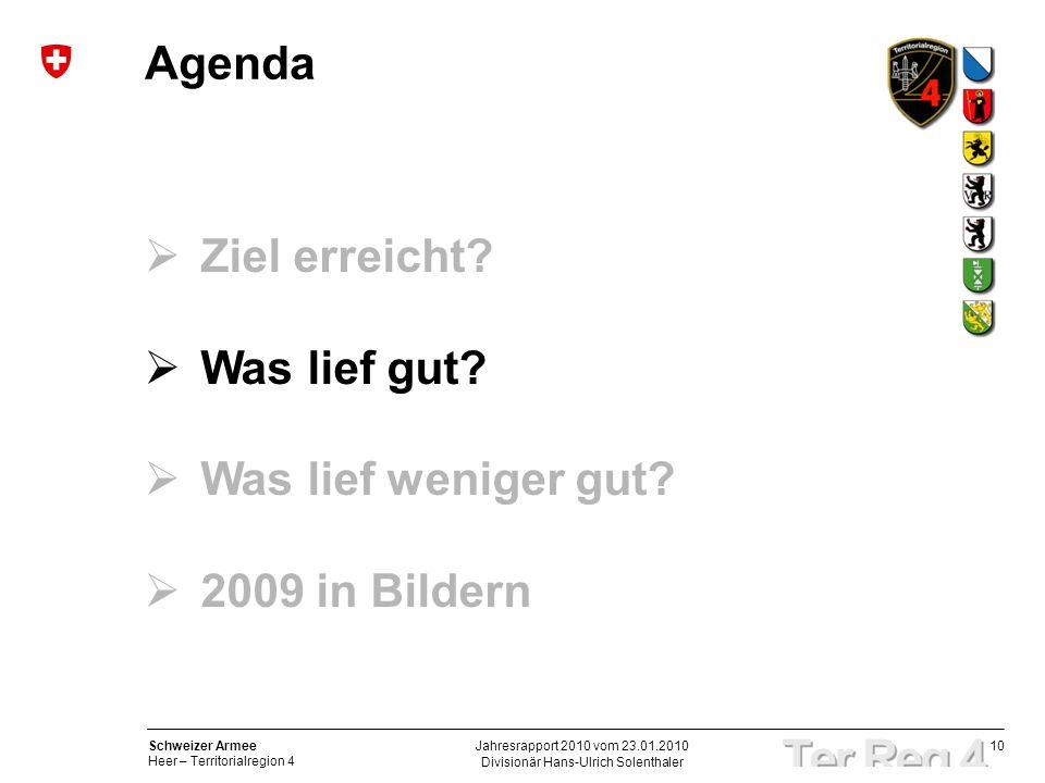 10 Schweizer Armee Heer – Territorialregion 4 Divisionär Hans-Ulrich Solenthaler Jahresrapport 2010 vom 23.01.2010 Agenda Ziel erreicht? Was lief gut?