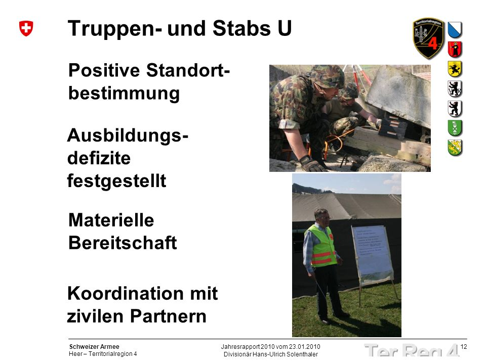 12 Schweizer Armee Heer – Territorialregion 4 Divisionär Hans-Ulrich Solenthaler Jahresrapport 2010 vom 23.01.2010 Truppen- und Stabs U Ausbildungs- d
