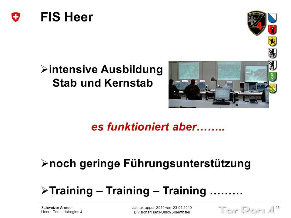 13 Schweizer Armee Heer – Territorialregion 4 Divisionär Hans-Ulrich Solenthaler Jahresrapport 2010 vom 23.01.2010 FIS Heer intensive Ausbildung Stab und Kernstab es funktioniert aber……..