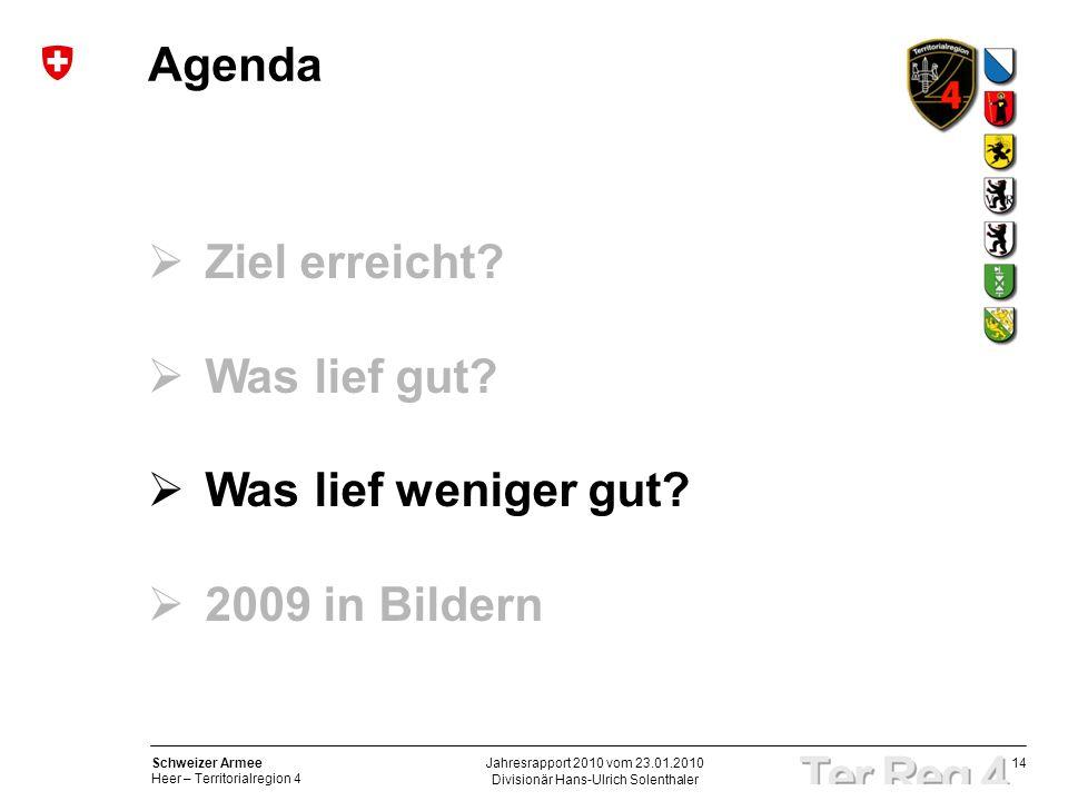 14 Schweizer Armee Heer – Territorialregion 4 Divisionär Hans-Ulrich Solenthaler Jahresrapport 2010 vom 23.01.2010 Agenda Ziel erreicht? Was lief gut?