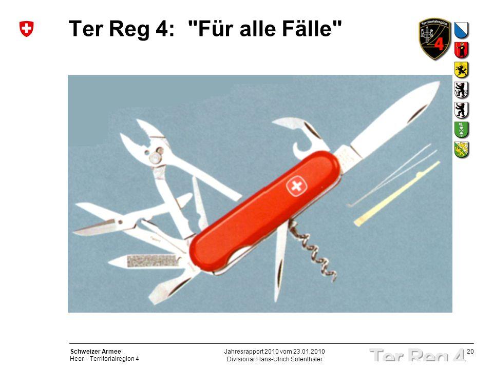 20 Schweizer Armee Heer – Territorialregion 4 Divisionär Hans-Ulrich Solenthaler Jahresrapport 2010 vom 23.01.2010 Ter Reg 4: Für alle Fälle