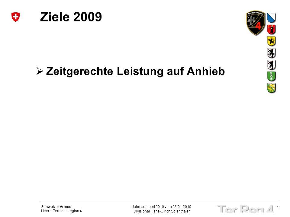 4 Schweizer Armee Heer – Territorialregion 4 Divisionär Hans-Ulrich Solenthaler Jahresrapport 2010 vom 23.01.2010 Ziele 2009 Zeitgerechte Leistung auf