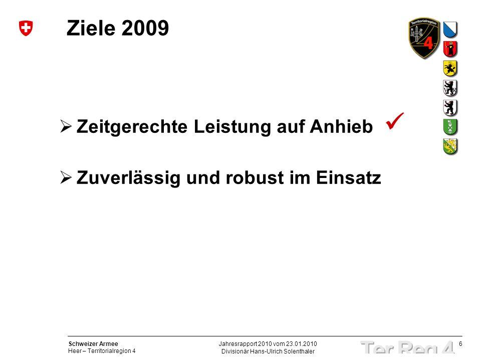 6 Schweizer Armee Heer – Territorialregion 4 Divisionär Hans-Ulrich Solenthaler Jahresrapport 2010 vom 23.01.2010 Ziele 2009 Zeitgerechte Leistung auf Anhieb Zuverlässig und robust im Einsatz