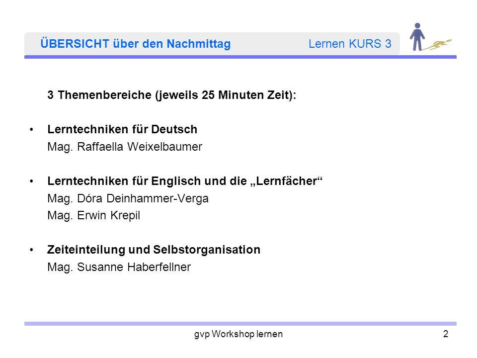 gvp Workshop lernen2 ÜBERSICHT über den Nachmittag Lernen KURS 3 3 Themenbereiche (jeweils 25 Minuten Zeit): Lerntechniken für Deutsch Mag. Raffaella