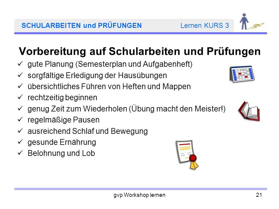 gvp Workshop lernen21 SCHULARBEITEN und PRÜFUNGEN Lernen KURS 3 Vorbereitung auf Schularbeiten und Prüfungen gute Planung (Semesterplan und Aufgabenhe
