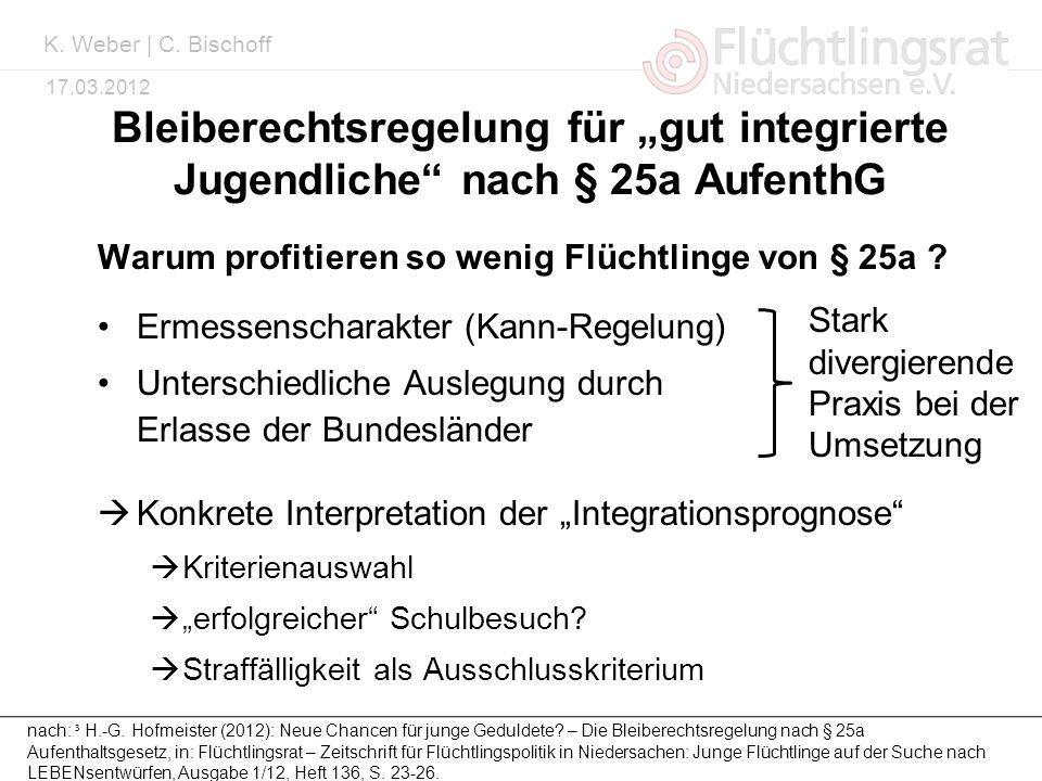 Kai Weber 17.03.2012 Bleiberechtsregelung für gut integrierte Jugendliche nach § 25a AufenthG Warum profitieren so wenig Flüchtlinge von § 25a ? Ermes