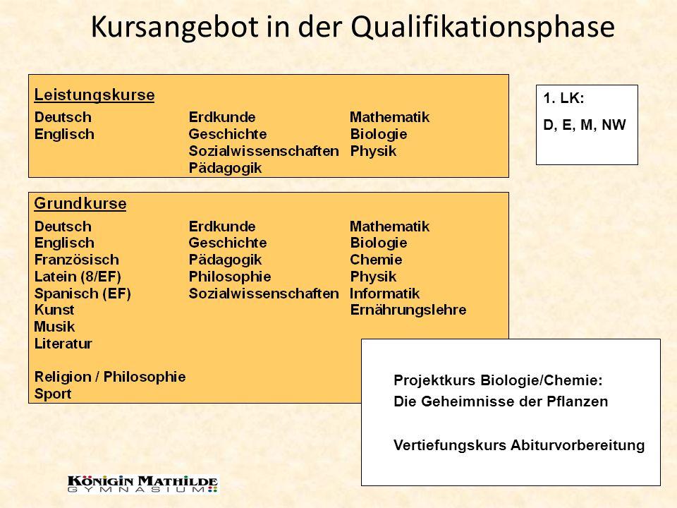 Kursangebot in der Qualifikationsphase Projektkurs Biologie/Chemie: Die Geheimnisse der Pflanzen Vertiefungskurs Abiturvorbereitung 1. LK: D, E, M, NW
