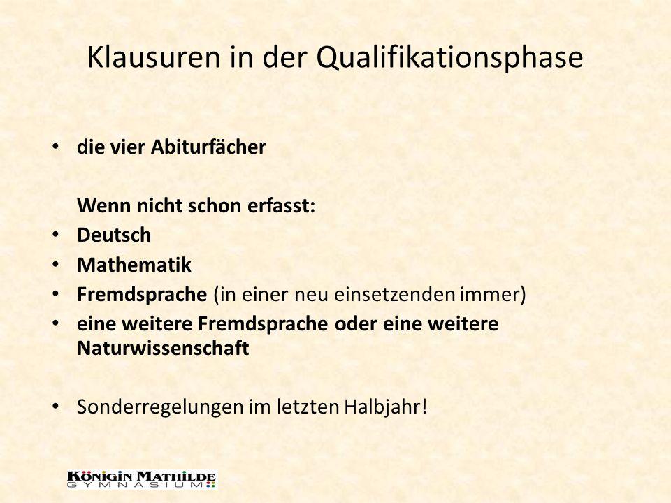 Klausuren in der Qualifikationsphase die vier Abiturfächer Wenn nicht schon erfasst: Deutsch Mathematik Fremdsprache (in einer neu einsetzenden immer)