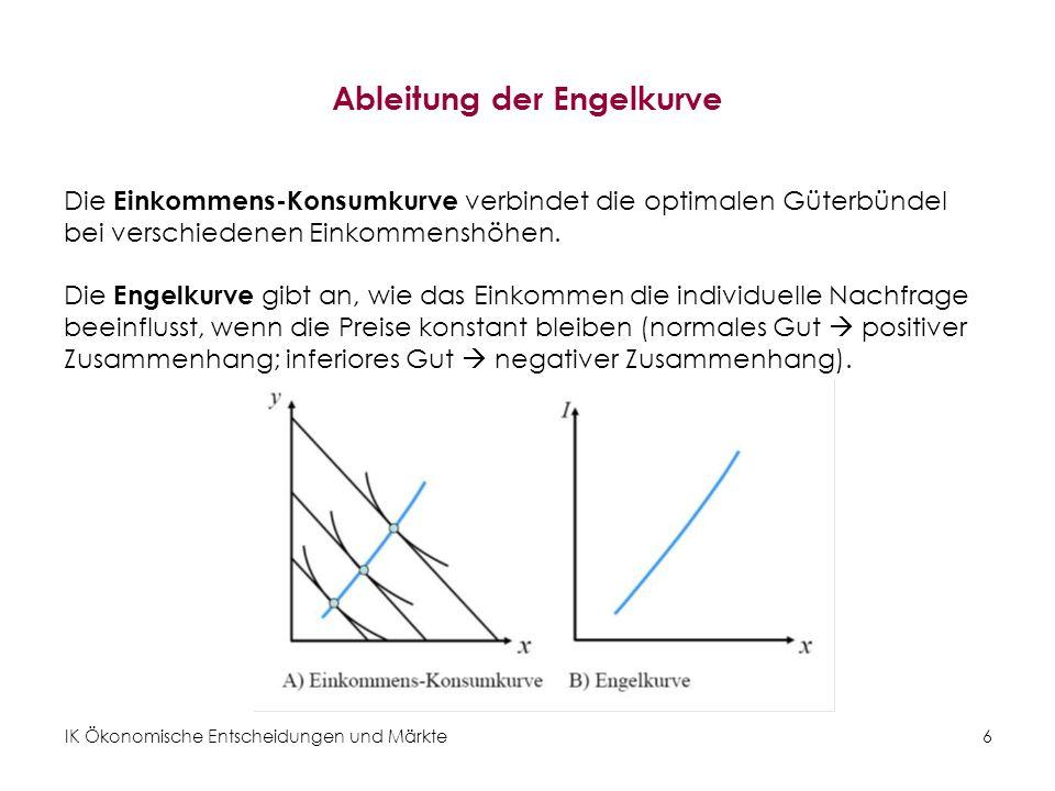 IK Ökonomische Entscheidungen und Märkte7 Normale und inferiore Güter Normale Güter: –Nachfrage steigt mit steigendem Einkommen –Positiv geneigte Einkommens-Konsumkurve und Engelkurve –Positive Einkommenselastizität der Nachfrage Inferiore Güter: –Nachfrage sinkt mit steigendem Einkommen –Negativ geneigte Einkommens-Konsumkurve und Engelkurve –Negative Einkommenselastizität der Nachfrage