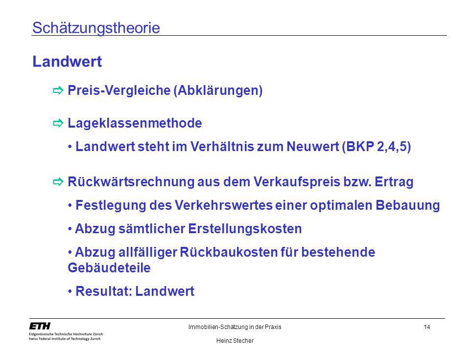Immobilien-Schätzung in der Praxis Heinz Stecher 14 Schätzungstheorie Landwert Preis-Vergleiche (Abklärungen) Lageklassenmethode Rückwärtsrechnung aus