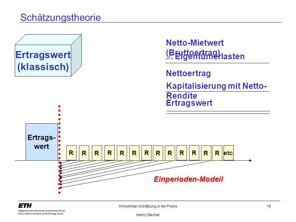 Immobilien-Schätzung in der Praxis Heinz Stecher 16 Schätzungstheorie Ertragswert (klassisch) Netto-Mietwert (Bruttoertrag) Kapitalisierung mit Netto-