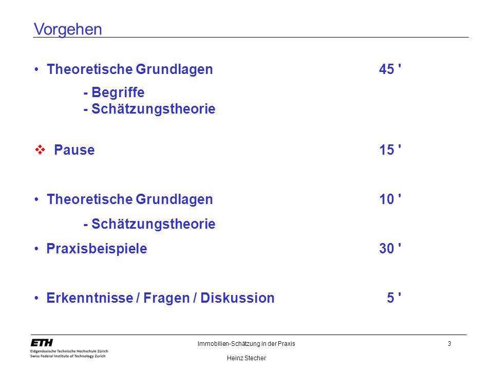 Immobilien-Schätzung in der Praxis Heinz Stecher 3 Vorgehen Theoretische Grundlagen45 ' - Begriffe - Schätzungstheorie Pause15 ' Theoretische Grundlag