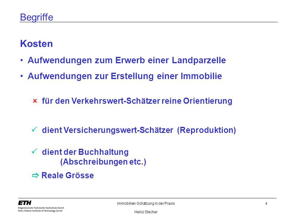 Immobilien-Schätzung in der Praxis Heinz Stecher 15 Schätzungstheorie Realwert Gebäudeneuwert Baunebenkosten Umgebung./.