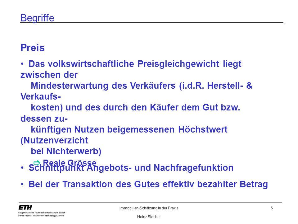 Immobilien-Schätzung in der Praxis Heinz Stecher 5 Begriffe Preis Das volkswirtschaftliche Preisgleichgewicht liegt zwischen der Mindesterwartung des